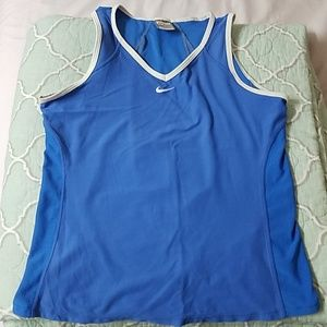 Nike Blue And White Fit Dry Sleeveless Top
